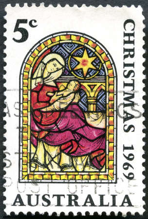 philately: AUSTRALIA - CIRCA 1969: A used postage stamp from Australia, depicting an illustration of Mary and the baby Jesus, commemorating Christmas, circa 1969.