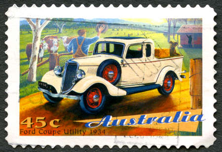 AUSTRALIA - CIRCA 1997: A used postage stamp from Australia, depicting an illustration of a Ford Coupe Utility 1934 automobile, circa 1997.