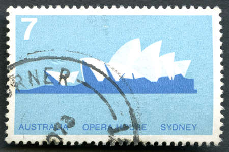 AUSTRALIA - CIRCA 1973: A used postage stamp from Australia, depicting an illustration of the Sydney Opera House in Australia, circa 1973.