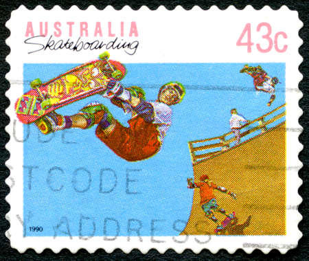 AUSTRALIA - CIRCA 1990: A used postage stamp from Australia, celebrating the leisure activity of Skateboarding, circa 1990. Editorial