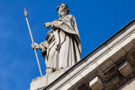 St. Matthias Sculpture on the Southern Facade of St. Pauls Cathedral in London, UK. Stock Photo