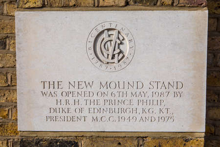lords: A plaque at Lords Cricket Ground in London, commemorating the opening of the New Mound Stand in 1987 by HRH Prince Phillip, the Duke of Edinburgh.