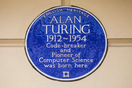 LONDON, UK - FEBRUARY 16TH 2017: A blue plaque on Warrington Cresent in the Maida Vale area of London, marking the location where famous Code-breaker Alan Turing was born, taken on 16th February 2017.