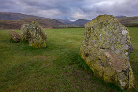 cumbria: A panoramic view of the magnificent Castlerigg Stone Circle in the Lake District in Cumbria, UK.