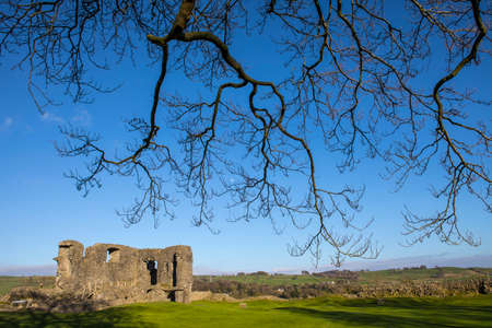 castle district: A view of the ruins of the historic Kendal Castle in Cumbria, UK. Stock Photo