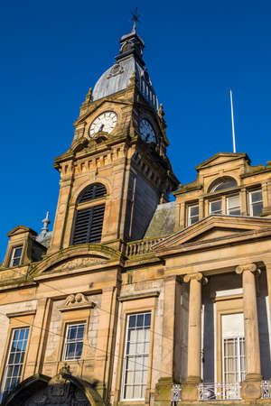 northwest: A view of the magnificent architecture of Kendal Town Hall in the historic town of Kendal in Cumbria, UK. Stock Photo