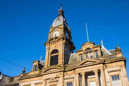 cumbria: A view of the magnificent architecture of Kendal Town Hall in the historic town of Kendal in Cumbria, UK. Stock Photo