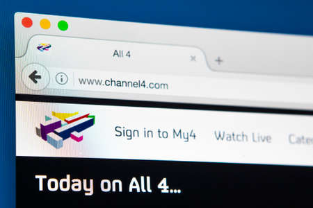 LONDON, UK - APRIL 13TH 2017: The homepage of the official Channel 4 website, on 13th April 2017.
