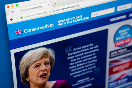 international internet: LONDON, UK - APRIL 13TH 2017: The official homepage of the Conservative Party, on 13th April 2017. Editorial