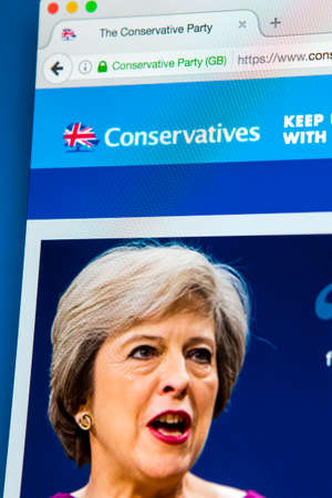 electronic voting: LONDON, UK - APRIL 13TH 2017: The official homepage of the Conservative Party, on 13th April 2017. Editorial