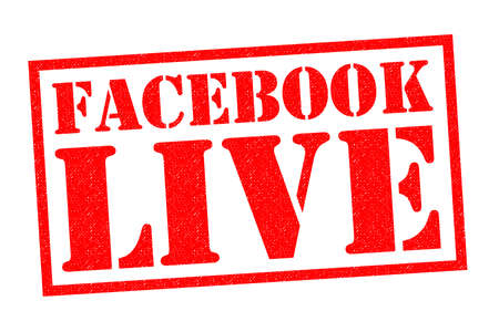 facebook: FACEBOOK LIVE red Rubber Stamp over a white background.