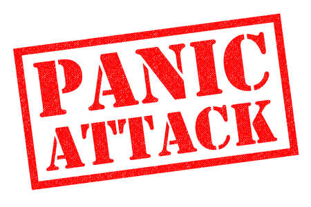 panicked: PANIC ATTACK red Rubber Stamp over a white background.