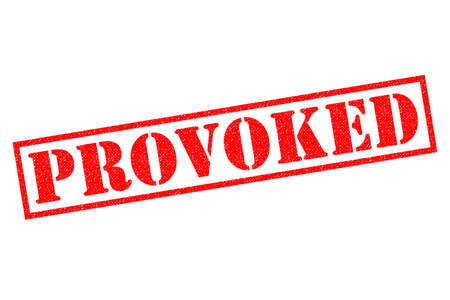 provoke: PROVOKED red Rubber Stamp over a white background.