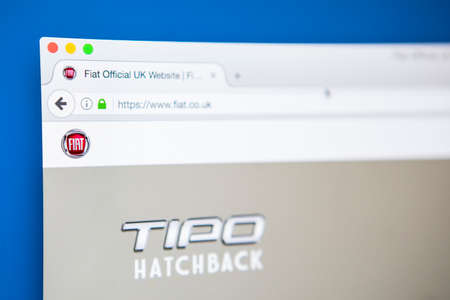 famous industries: LONDON, UK - APRIL 25TH 2017: The homepage of the official website for Fiat, the Italian automobile manufacturer, on 25th April 2017. Editorial