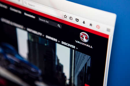 famous industries: LONDON, UK - APRIL 25TH 2017: The homepage of the official website for Vauxhall, the automobile manufacturer, on 25th April 2017.
