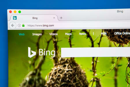 LONDON, UK - APRIL 25TH 2017: The homepage of the official website for Bing, a web search engine owned and operated by Microsoft, on 25th April 2017.
