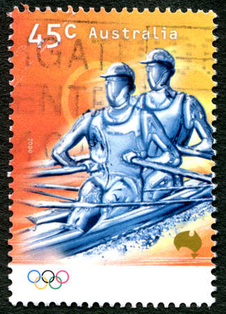 AUSTRALIA - CIRCA 2000: A used postage stamp from Australia, depicting an illustration of Rowing to celebrate the Olympic Games, circa 2000. Editorial