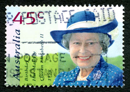 AUSTRALIA - CIRCA 1998: A used postage stamp from Australia, depicting a portrait of Queen Elizabeth II to celebrate her birthday, circa 1998.
