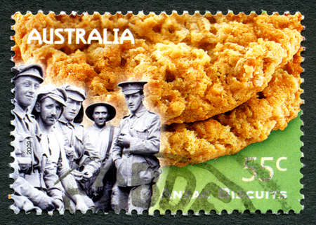 AUSTRALIA - CIRCA 2009:A used postage stamp from Australia, celebrating the Anzac biscuit, circa 2009.