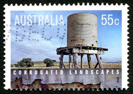 AUSTRALIA - CIRCA 2009: A used postage stamp from Australia, celebrating corrugated landscapes and architecture, circa 2009.