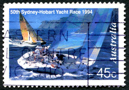 AUSTRALIA - CIRCA 1994: A used postage stamp from Australia, commemorating the 50th Sydney to Hobart Yacht Race, circa 1994.