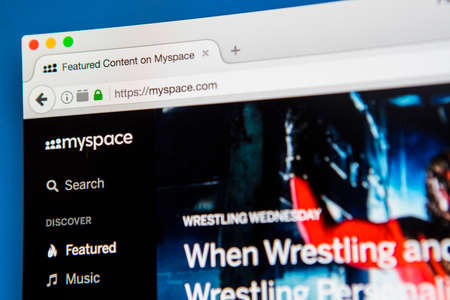 icons site search: LONDON, UK - APRIL 20TH 2017: The homepage of the official Myspace social networking website on 20th April 2017.