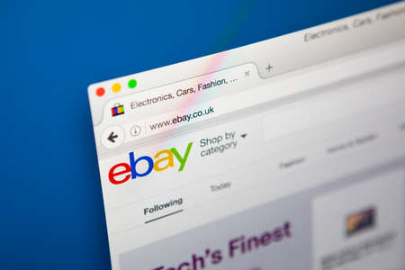 ebay: LONDON, UK - APRIL 20TH 2017: The homepage of the official website for Ebay, the online auction and sales website, on 20th April 2017. Editorial