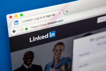 LONDON, UK - APRIL 20TH 2017: The homepage of the official website for LinkedIn, the business and employment social networking service, on 20th April 2017.
