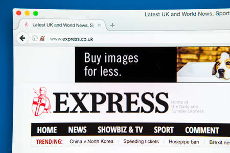 journalistic: LONDON, UK - APRIL 26TH 2017: The homepage of the official website for the Daily Express, a daily national newspaper printed in the UK, on 26th April 2017. Editorial