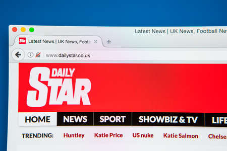 journalistic: LONDON, UK - APRIL 26TH 2017: The homepage of the official website for the Daily Star, a daily national tabloid newspaper printed in the UK, on 26th April 2017.