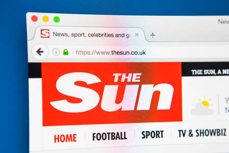 journalistic: LONDON, UK - APRIL 26TH 2017: The homepage for the official website of The Sun, a daily national tabloid newspaper published in the UK, on 26th April 2017.