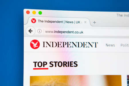journalistic: LONDON, UK - APRIL 26TH 2017: The homepage for the official website of The Independent, the British online newspaper, on 26th April 2017.  The printed edition of the paper ceased in March 2016.