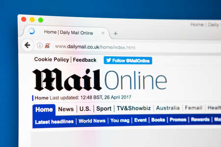 journalistic: LONDON, UK - APRIL 26TH 2017: The homepage for the official website for the Daily Mail website, known as the Mail Online, on 26th April 2016.