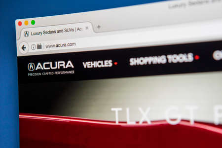 acura: LONDON, UK - APRIL 28TH 2017: The homepage of the official website for Acura, the luxury vehicle brand of Japanese automaker Honda, on 28th April 2017.