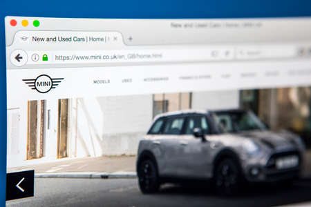 famous industries: LONDON, UK - APRIL 27TH 2017: The homepage of the official website for Mini, the small economy car produced by the British Motor Corporation, on 27th April 2017.