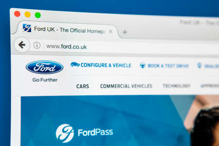 famous industries: LONDON, UK - APRIL 27TH 2017: The homepage for the official website of the Ford Motor Company, on 27th April 2017.