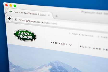 famous industries: LONDON, UK - APRIL 27TH 2017: The homepage for the official website of Land Rover, a car brand that specialises in four-wheel-drive vehicles, on 27th April 2017.