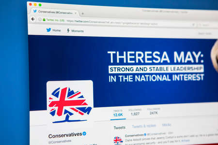 LONDON, UK - MAY 3RD 2017: The official twitter page for the Conservative Party, on 3rd May 2017. Editorial