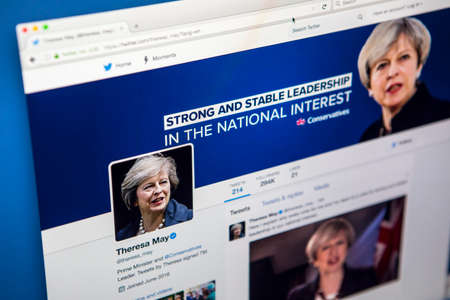 LONDON, UK - MAY 3RD 2017: The official twitter page for Theresa May - British Prime Minister and Conservative Party leader, on 3rd May 2017. Editorial