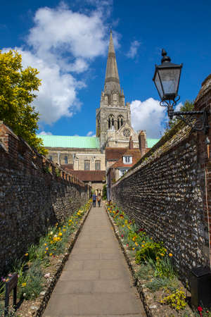 A view of the spire of Chichester Cathedral and St. Richards Walk in the historic city of Chichester in Sussex, UK. Stock Photo