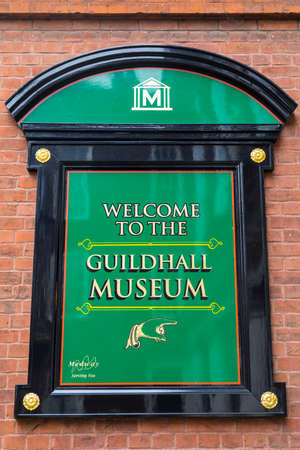 ROCHESTER, UK - APRIL 22ND 2017: A welcome sign at the entrance to the Guildhall Museum in Rochester, UK, on 22nd April 2017.