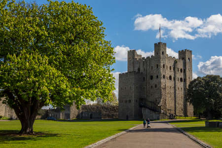 ROCHESTER, UK - APRIL 22ND 2017: A view of the magnificent keep of Rochester Castle in the historic city of Rochester in Kent, UK, on 22nd April 2017.