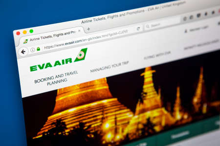 LONDON, UK - MAY 3RD 2017: The homepage of the official website for Eva Air, the Taiwanese International Airline, on 3rd May 2017. Editorial