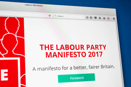 17th: LONDON, UK - MAY 17TH 2017: The link to the 2017 Labour Party Manifesto displayed on the official Labour Party website, on 17th May 2017. Editorial