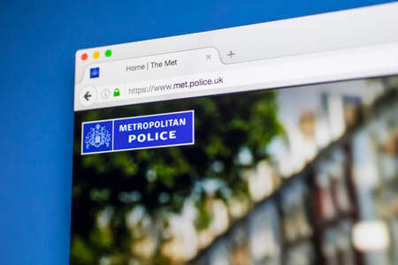 17th: LONDON, UK - MAY 17TH 2017: The homepage of the official website for the Metropolitan Police Service, on 17th May 2017.
