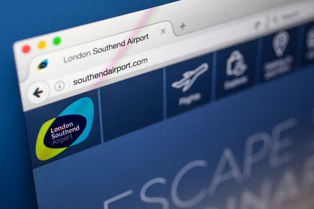 17th: LONDON, UK - MAY 17TH 2017: The homepage for the official website of London Southend Airport, on 17th May 2017. Editorial