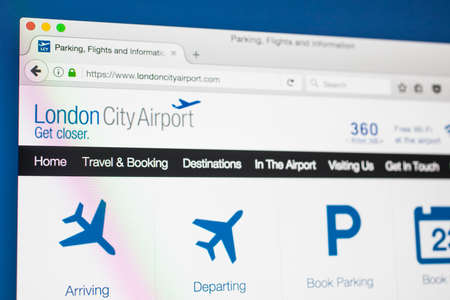 newham: LONDON, UK - MAY 17TH 2017: The homepage for the official website of London City Airport, on 17th May 2017.