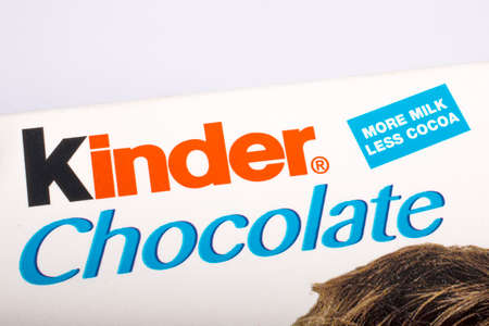 LONDON, UK - MAY 23RD 2017: The Kinder Chocolate logo on one of their confectionery products, on 23rd May 2017.