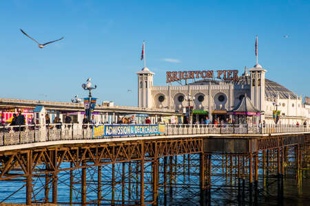 BRIGHTON, UK - MAY 31ST 2017: A view of the historic Brighton Pier in Brighton, UK, on 31st May 2017.