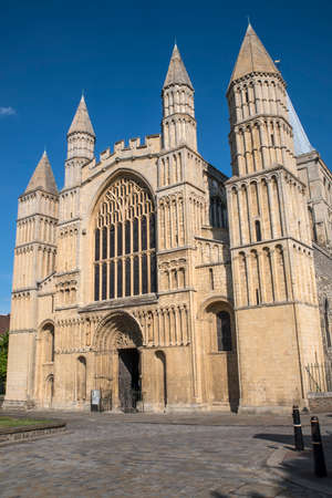 A view of the entrance to the historic Rochester Cathedral in the UK. Stock Photo